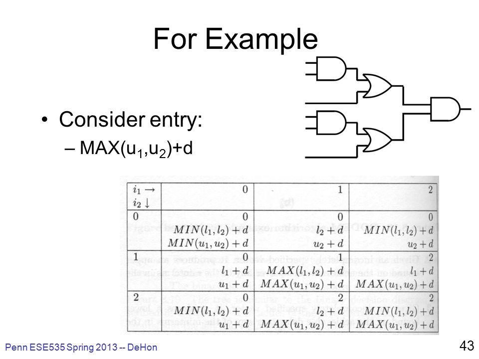 For Example Consider entry: –MAX(u 1,u 2 )+d Penn ESE535 Spring 2013 -- DeHon 43