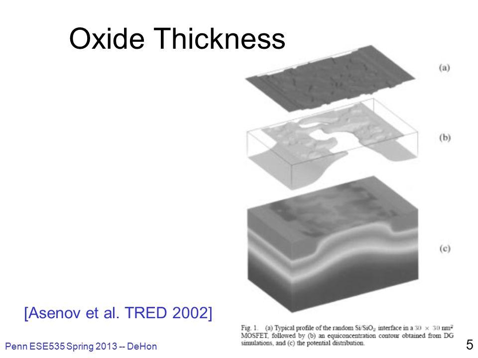Penn ESE535 Spring 2013 -- DeHon 5 Oxide Thickness [Asenov et al. TRED 2002]