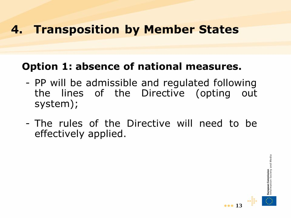 13 Option 1: absence of national measures.