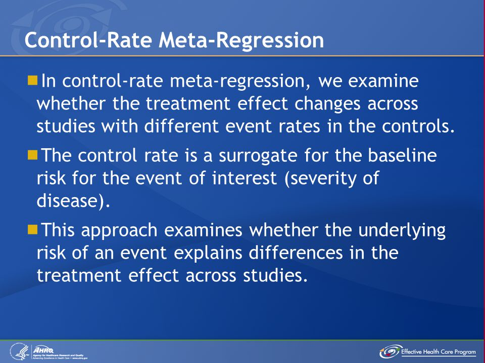  In control-rate meta-regression, we examine whether the treatment effect changes across studies with different event rates in the controls.