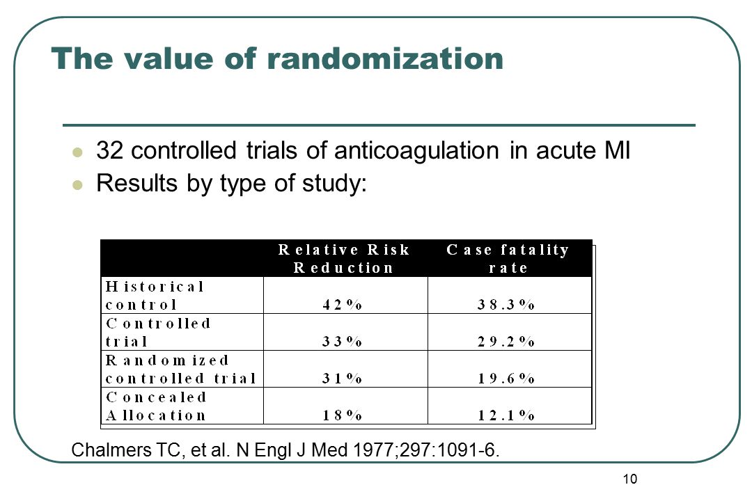 9 Was it a randomized controlled trial? Randomization is the best protection against being mislead
