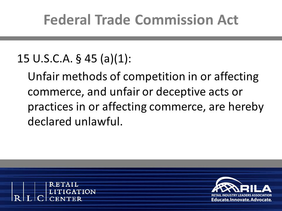 Federal Trade Commission Act 15 U.S.C.A.