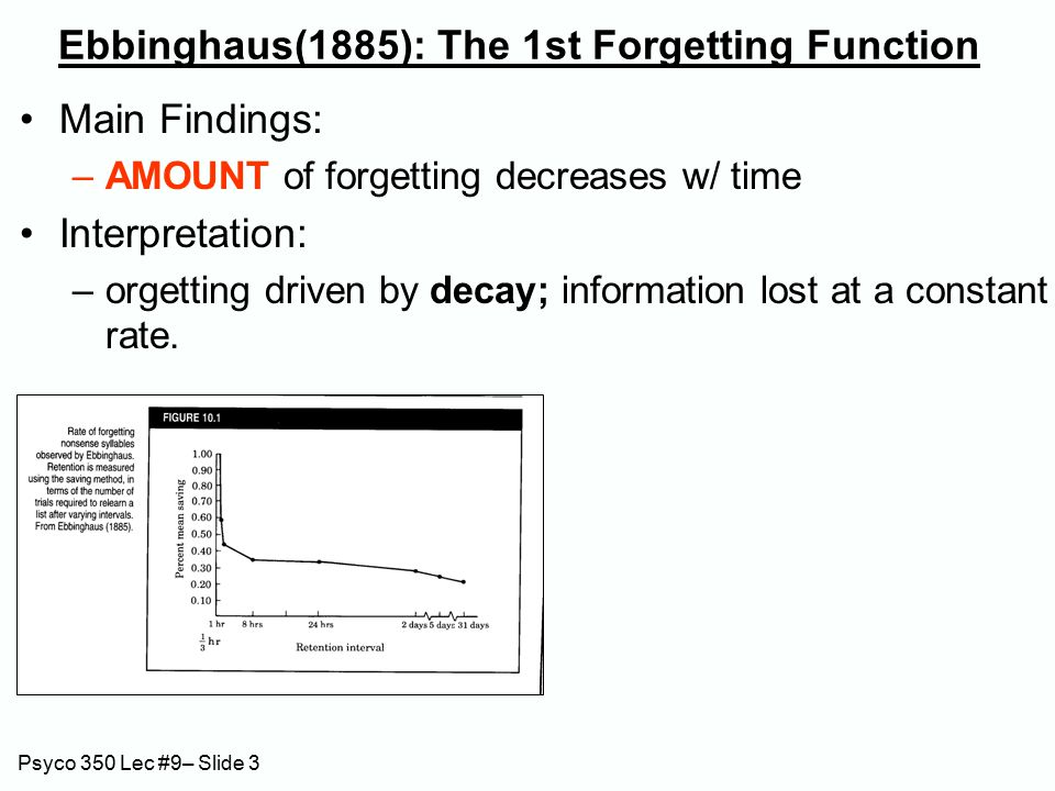 Psyco 350 Lec #9– Slide 14 RPI: Activation-Discrimination Interpretation Activation: Concepts activated when accessed Activation decays rapidly Retrieval: search some (cued) portion of memory for most active concepts.