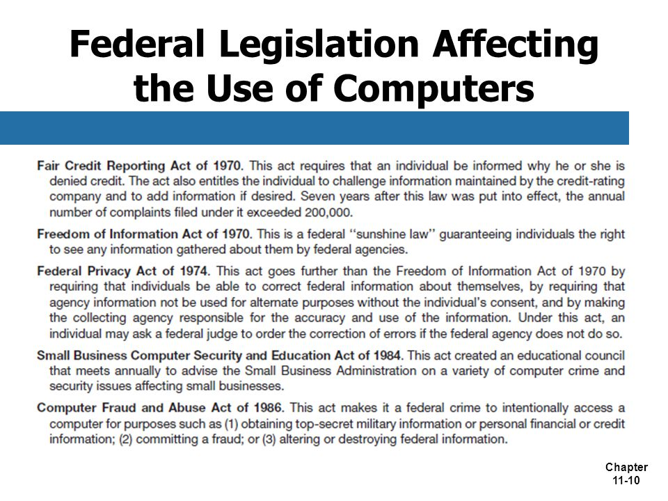 Chapter 11-10 Federal Legislation Affecting the Use of Computers