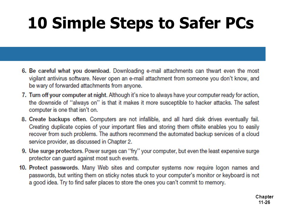 Chapter 11-26 10 Simple Steps to Safer PCs