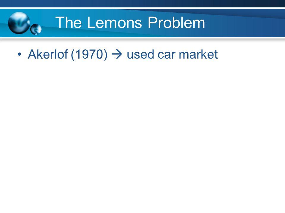 Akerlof (1970)  used car market
