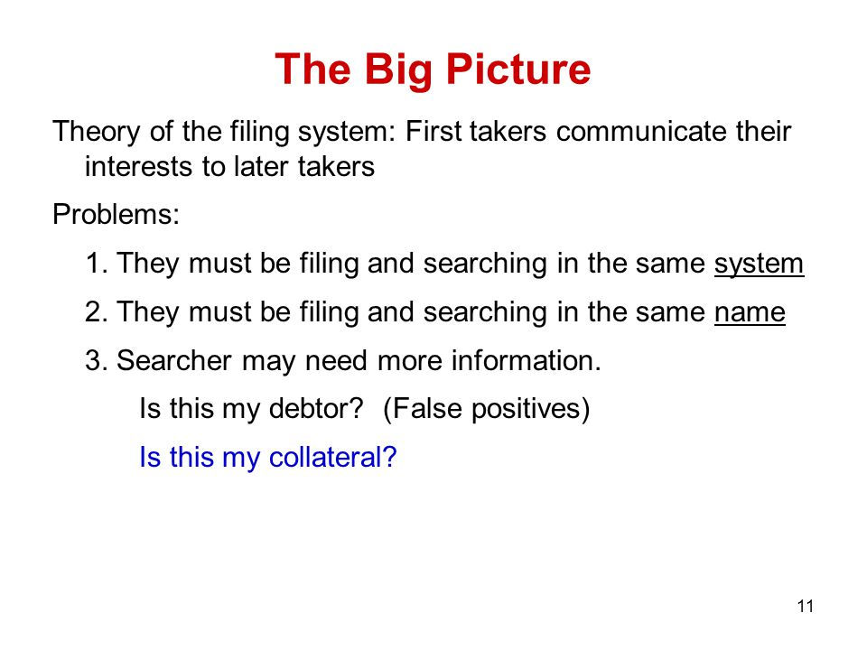 11 The Big Picture Theory of the filing system: First takers communicate their interests to later takers Problems: 1.