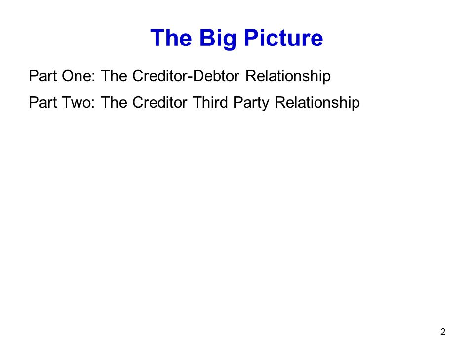 2 The Big Picture Part One: The Creditor-Debtor Relationship Part Two: The Creditor Third Party Relationship Chapter 6-7: Perfection Assignment 16: Fi