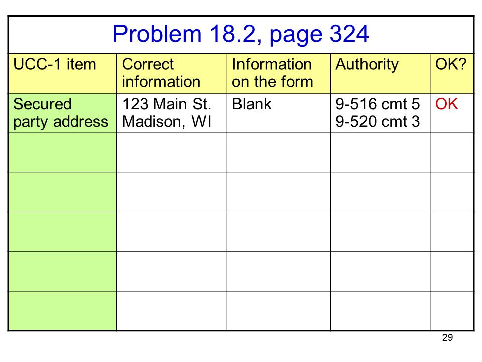 29 Problem 18.2, page 324 UCC-1 itemCorrect information Information on the form AuthorityOK? Secured party address 123 Main St. Madison, WI Blank9-516