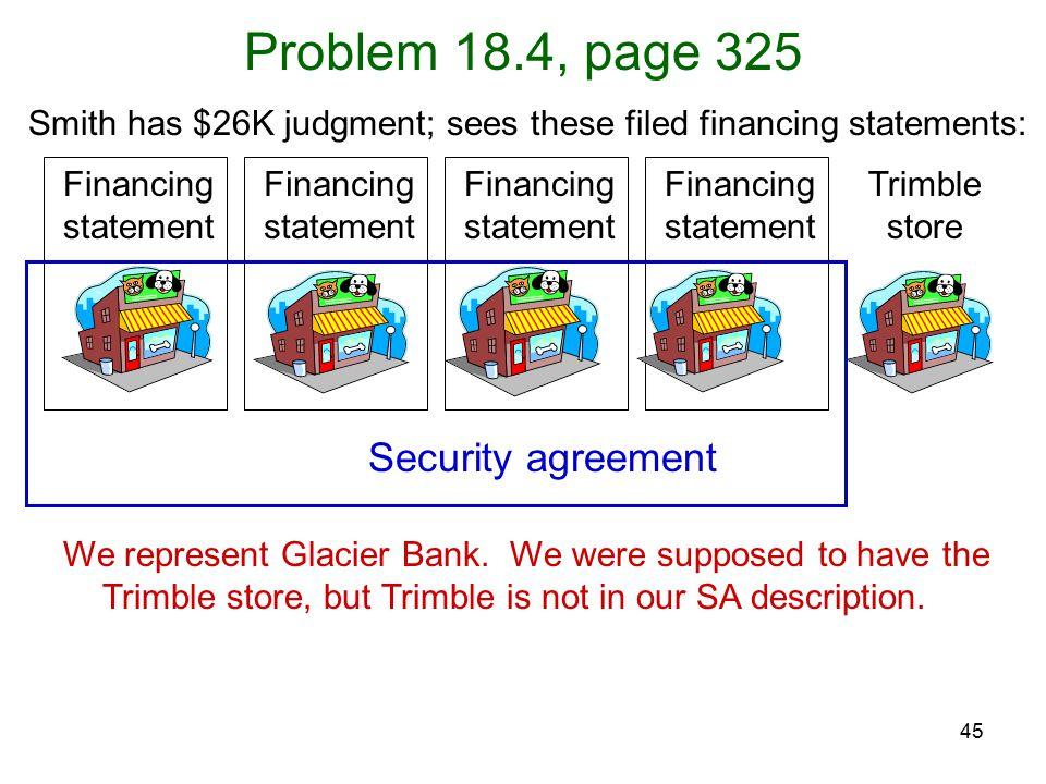 45 Problem 18.4, page 325 We represent Glacier Bank.