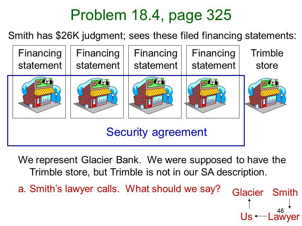46 Problem 18.4, page 325 We represent Glacier Bank.