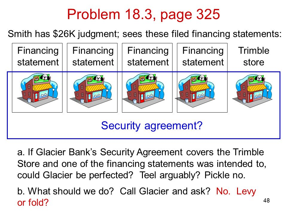 48 Problem 18.3, page 325 Security agreement? a. If Glacier Bank's Security Agreement covers the Trimble Store and one of the financing statements was