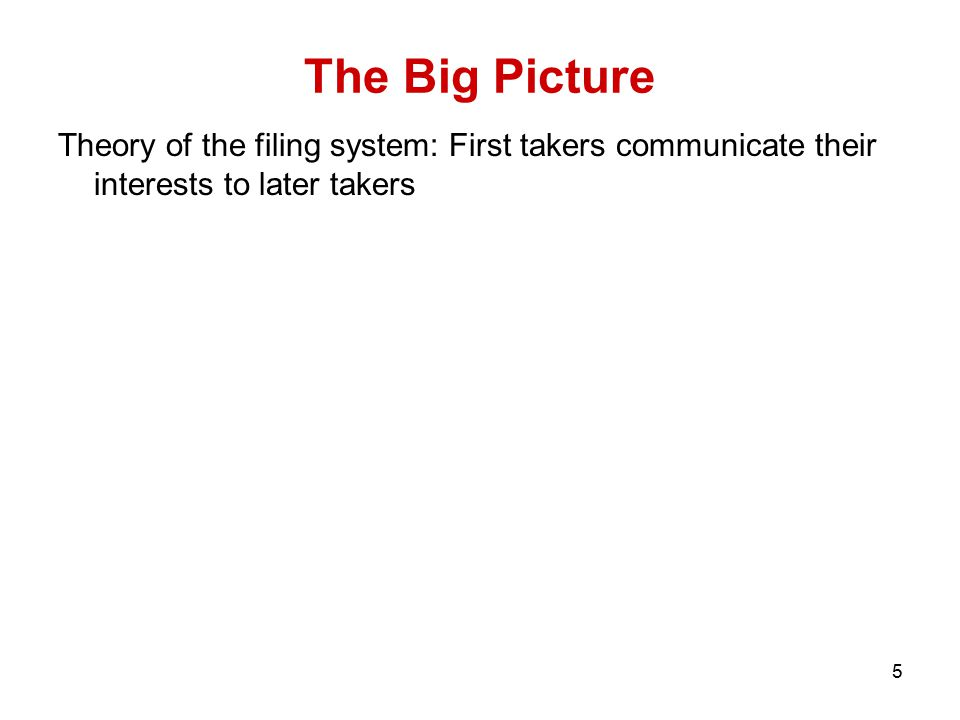 5 The Big Picture Theory of the filing system: First takers communicate their interests to later takers Problems: 1.