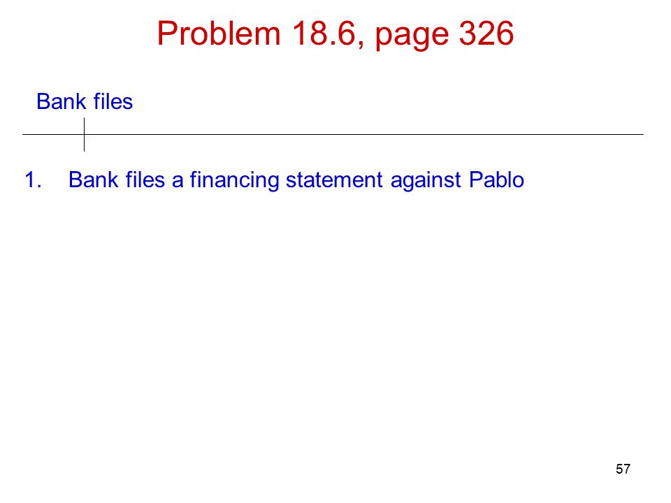 57 Bank files Problem 18.6, page 326 1.Bank files a financing statement against Pablo