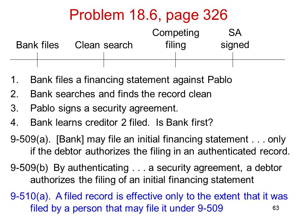 63 Bank files Problem 18.6, page 326 SA signed Competing filing Clean search 1.Bank files a financing statement against Pablo 2.Bank searches and finds the record clean 3.Pablo signs a security agreement.