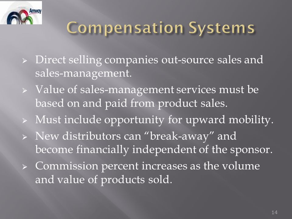  Direct selling companies out-source sales and sales-management.