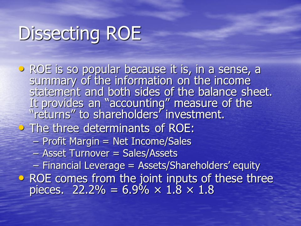 Dissecting ROE ROE is so popular because it is, in a sense, a summary of the information on the income statement and both sides of the balance sheet.