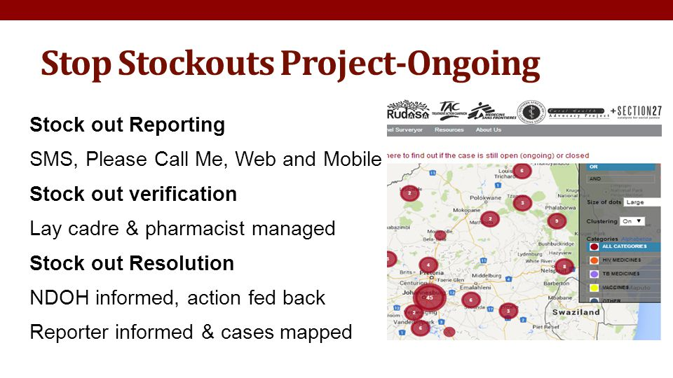 Stop Stockouts Project-Ongoing Stock out Reporting SMS, Please Call Me, Web and Mobile Stock out verification Lay cadre & pharmacist managed Stock out Resolution NDOH informed, action fed back Reporter informed & cases mapped