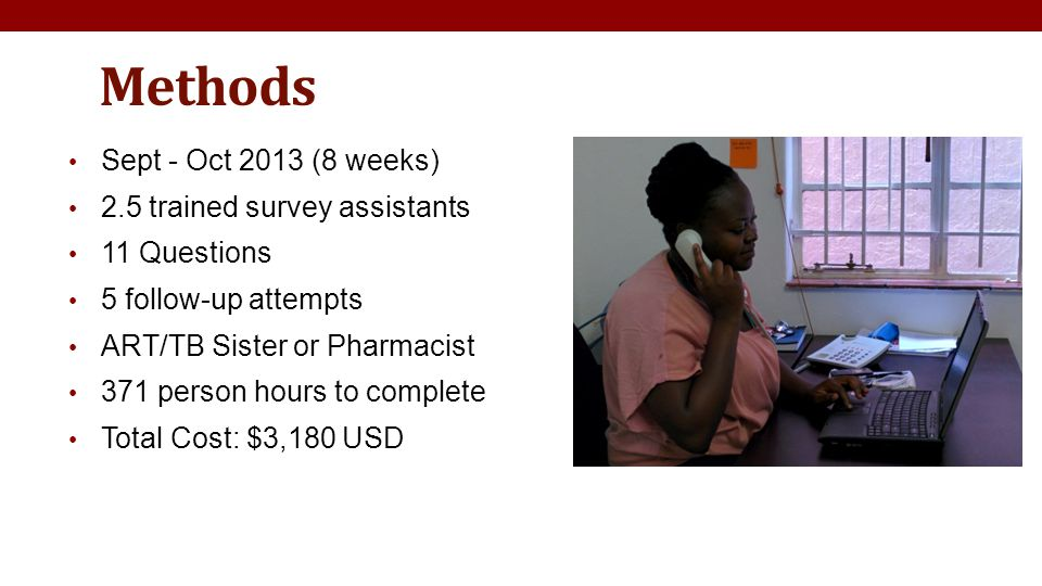 Methods Sept - Oct 2013 (8 weeks) 2.5 trained survey assistants 11 Questions 5 follow-up attempts ART/TB Sister or Pharmacist 371 person hours to complete Total Cost: $3,180 USD