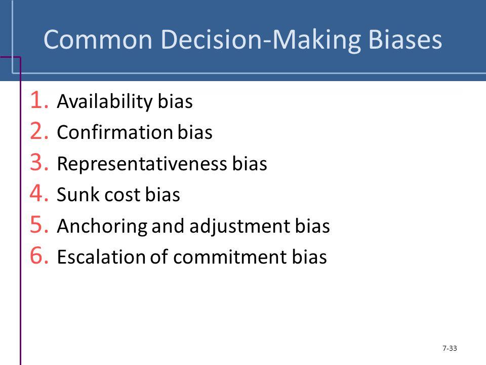 Common Decision-Making Biases 1. Availability bias 2. Confirmation bias 3. Representativeness bias 4. Sunk cost bias 5. Anchoring and adjustment bias