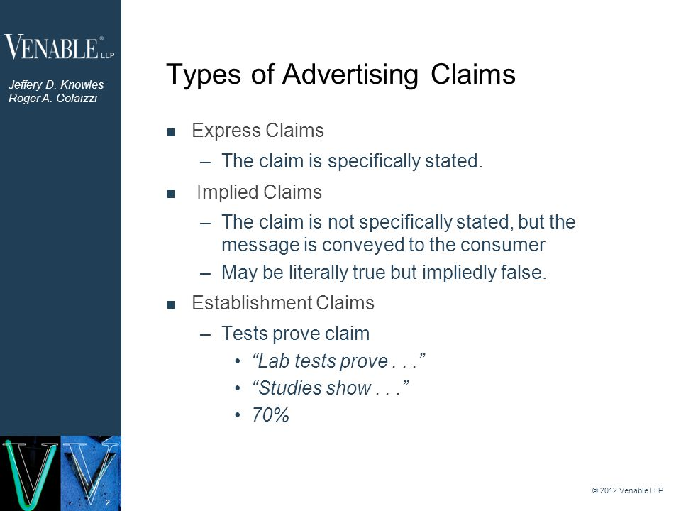 2 Types of Advertising Claims Express Claims –The claim is specifically stated. Implied Claims –The claim is not specifically stated, but the message