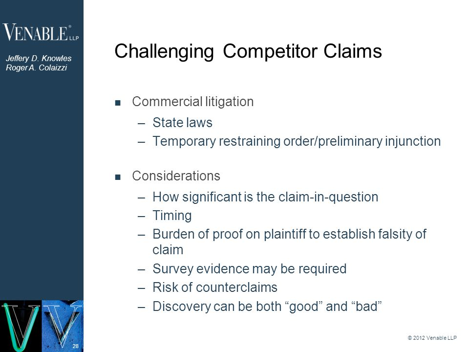 28 Commercial litigation –State laws –Temporary restraining order/preliminary injunction Considerations –How significant is the claim-in-question –Tim
