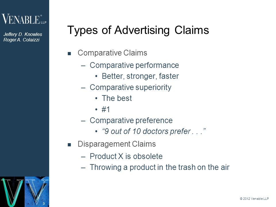 3 Types of Advertising Claims Comparative Claims –Comparative performance Better, stronger, faster –Comparative superiority The best #1 –Comparative preference 9 out of 10 doctors prefer... Disparagement Claims –Product X is obsolete –Throwing a product in the trash on the air © 2012 Venable LLP Jeffery D.