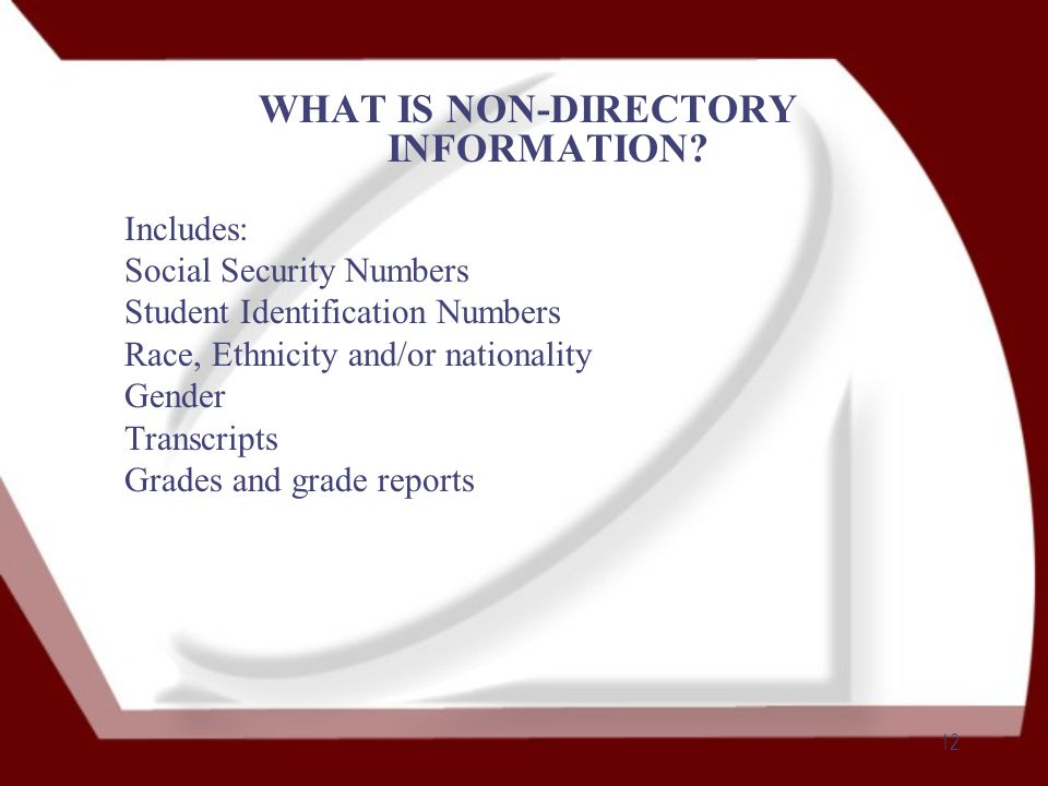 12 WHAT IS NON-DIRECTORY INFORMATION.