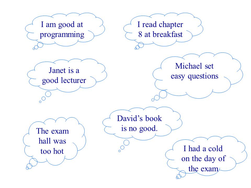 I am good at programming Janet is a good lecturer I read chapter 8 at breakfast Michael set easy questions The exam hall was too hot David's book is n