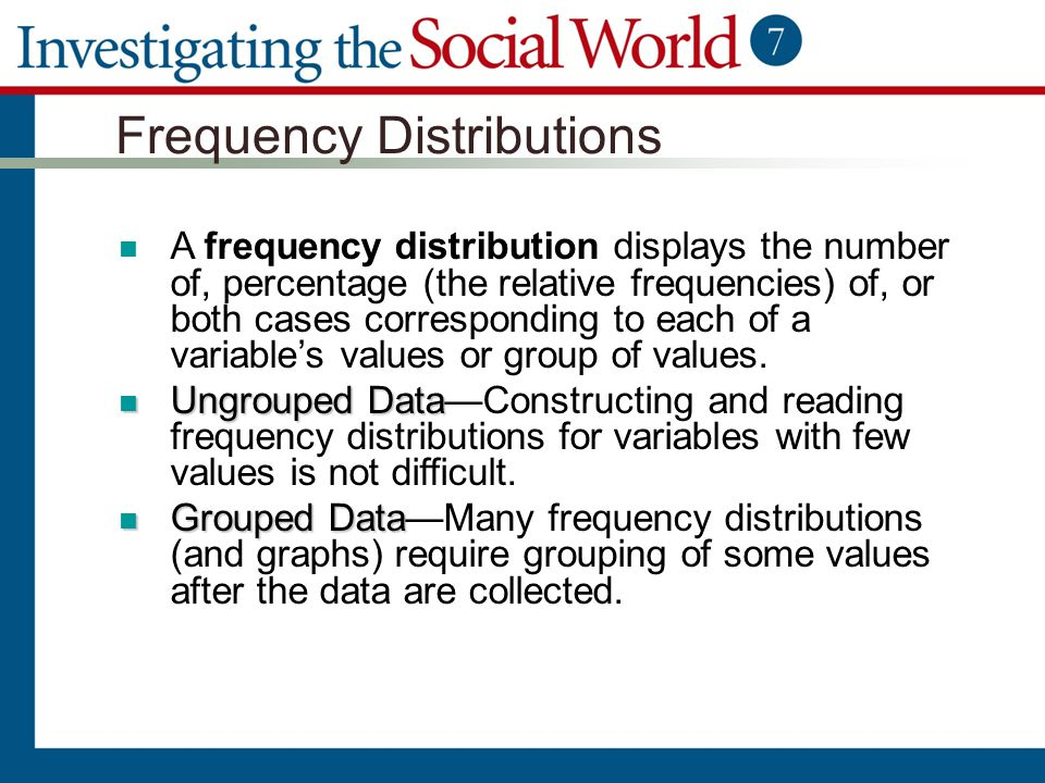 Frequency Distributions A frequency distribution displays the number of, percentage (the relative frequencies) of, or both cases corresponding to each