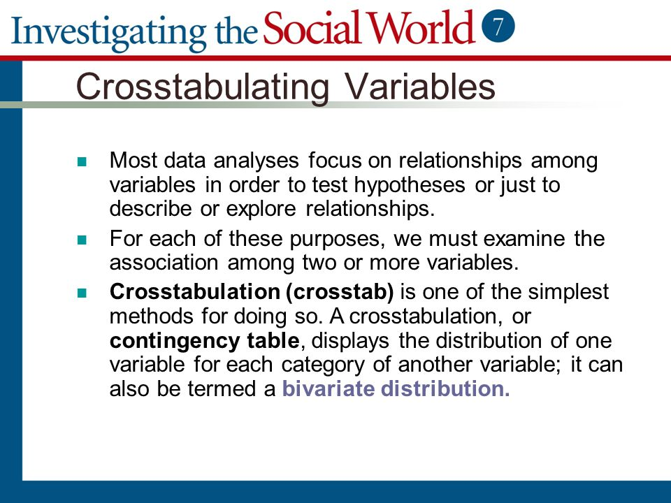 Crosstabulating Variables Most data analyses focus on relationships among variables in order to test hypotheses or just to describe or explore relatio