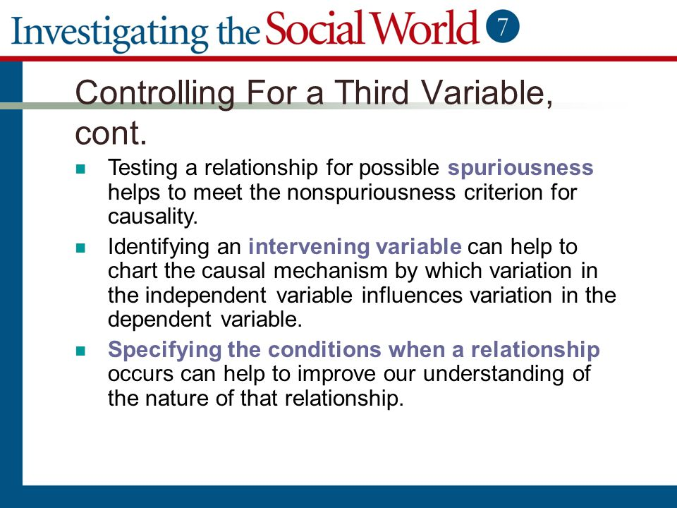 Controlling For a Third Variable, cont. Testing a relationship for possible spuriousness helps to meet the nonspuriousness criterion for causality. Id
