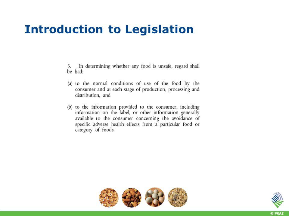 © FSAI Introduction to Legislation