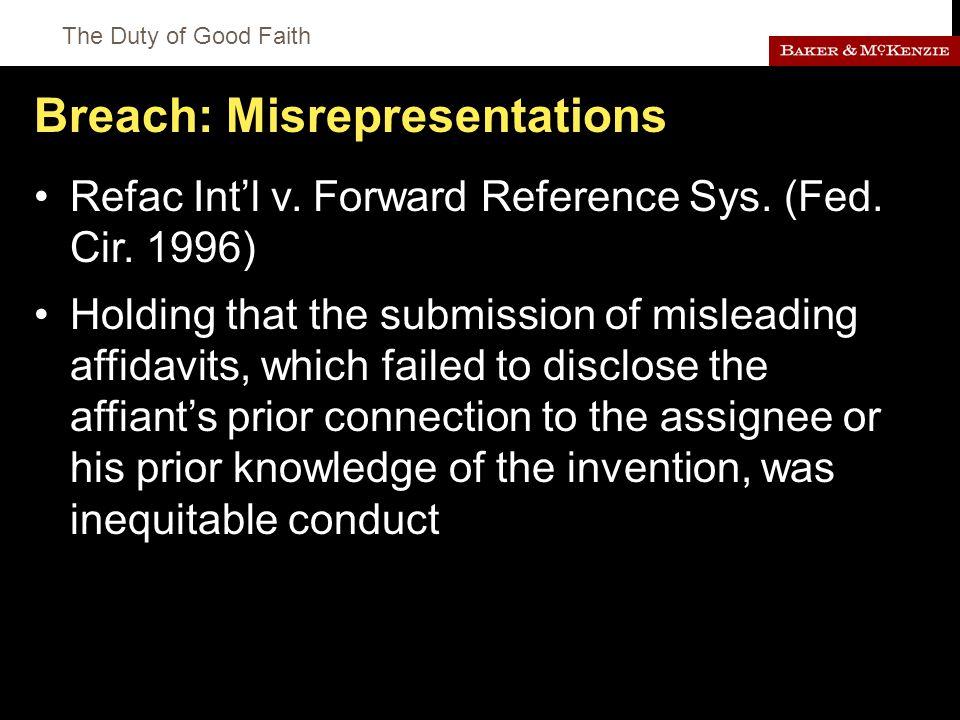 The Duty of Good Faith Breach: Misrepresentations Refac Int'l v.