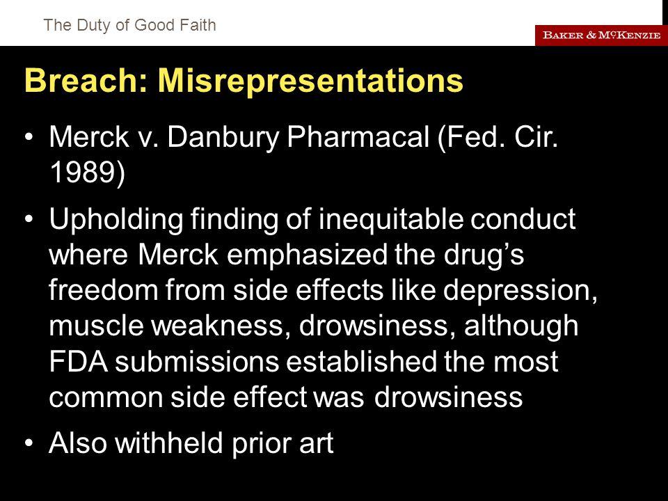 The Duty of Good Faith Breach: Misrepresentations Merck v.