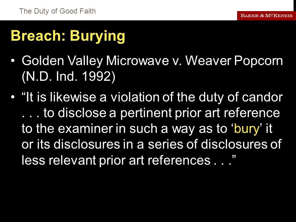 The Duty of Good Faith Breach: Burying Golden Valley Microwave v.