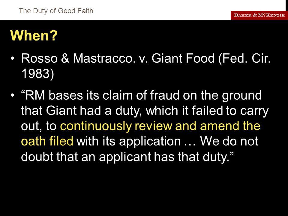 The Duty of Good Faith When. Rosso & Mastracco. v.