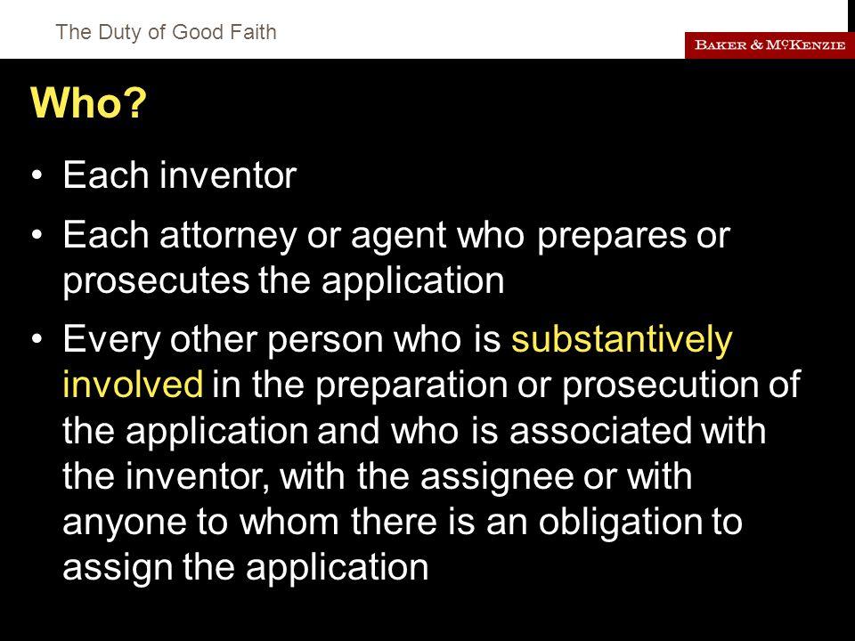 The Duty of Good Faith Who.