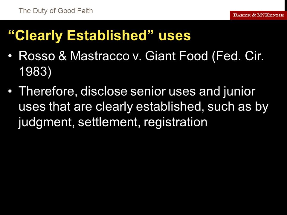 The Duty of Good Faith Clearly Established uses Rosso & Mastracco v.