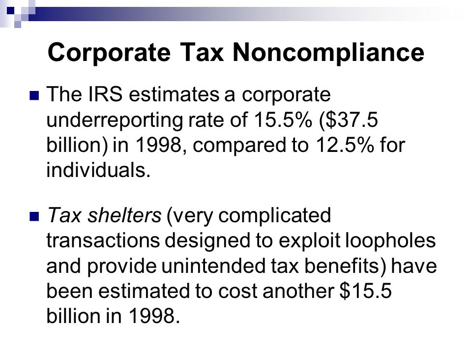 Corporate Tax Noncompliance The IRS estimates a corporate underreporting rate of 15.5% ($37.5 billion) in 1998, compared to 12.5% for individuals.