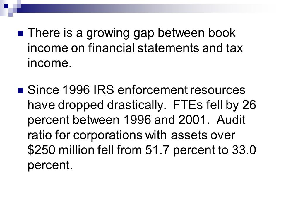 There is a growing gap between book income on financial statements and tax income.