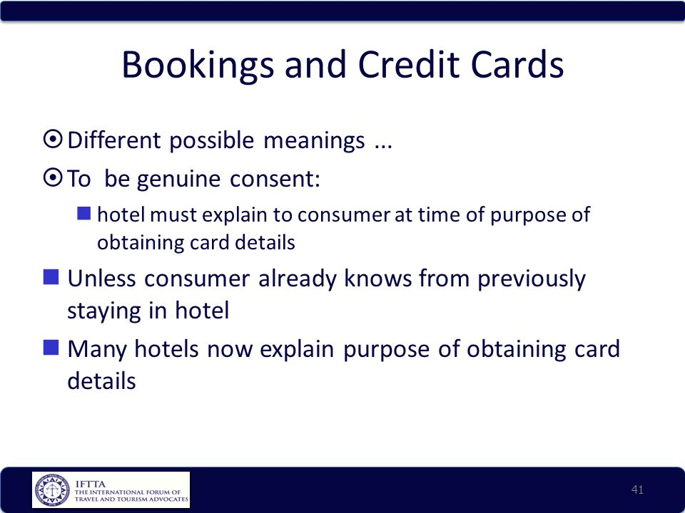Bookings and Credit Cards  Different possible meanings...