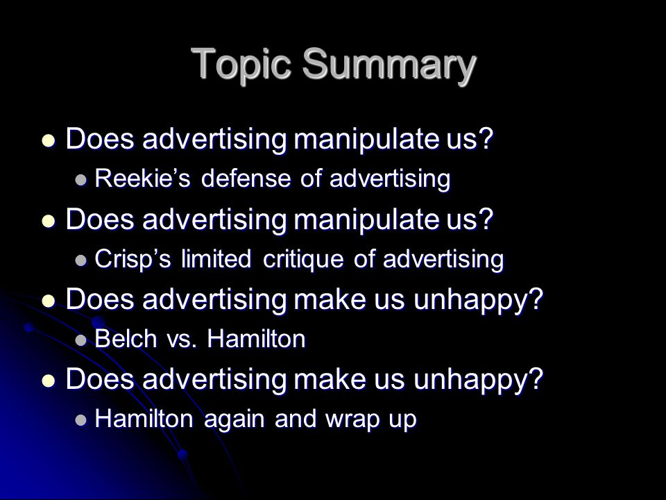 Does Advertising Really Make Us Dissatisfied.
