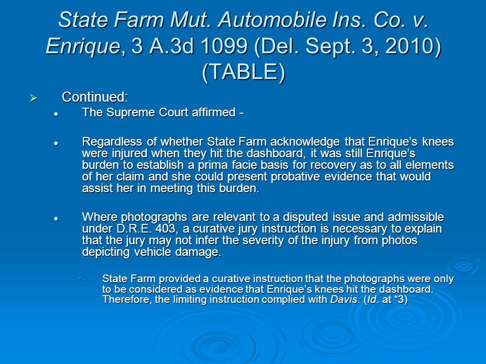 State Farm Mut. Automobile Ins. Co. v. Enrique, 3 A.3d 1099 (Del.