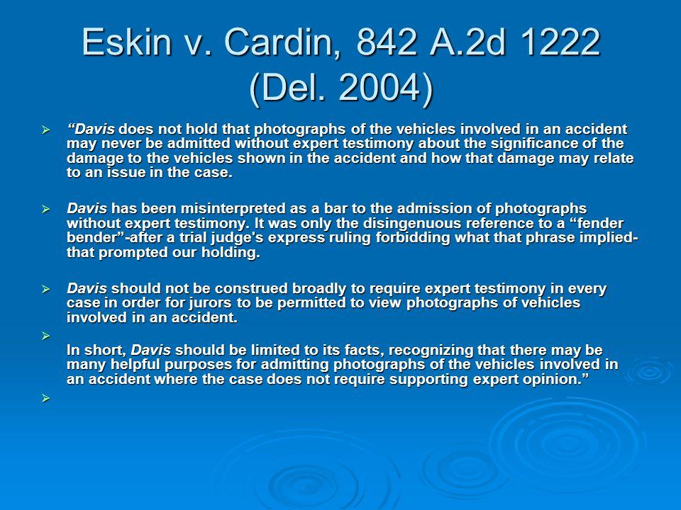 Eskin v. Cardin, 842 A.2d 1222 (Del.
