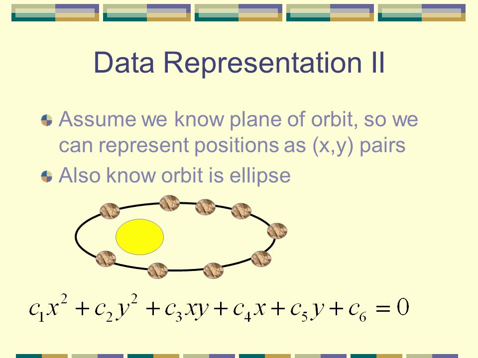Data Representation II Assume we know plane of orbit, so we can represent positions as (x,y) pairs Also know orbit is ellipse