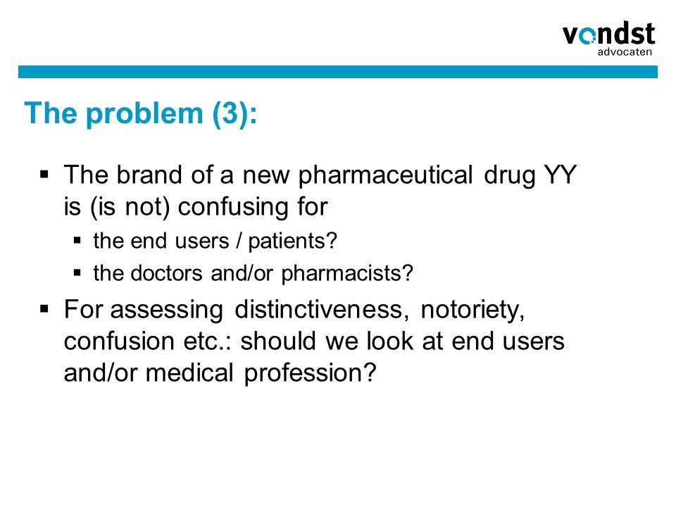 The problem (3):  The brand of a new pharmaceutical drug YY is (is not) confusing for  the end users / patients?  the doctors and/or pharmacists? 