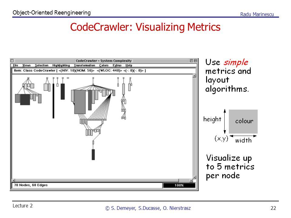 22 Object-Oriented Reengineering © S. Demeyer, S.Ducasse, O. Nierstrasz Lecture 2 Radu Marinescu CodeCrawler: Visualizing Metrics