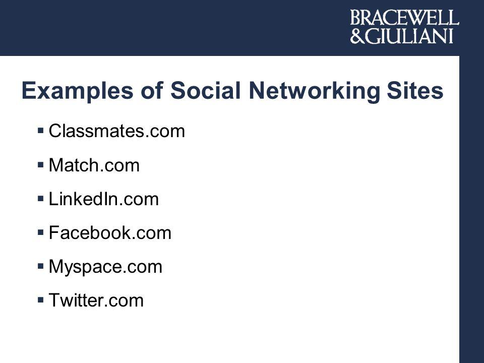 Examples of Social Networking Sites  Classmates.com  Match.com  LinkedIn.com  Facebook.com  Myspace.com  Twitter.com