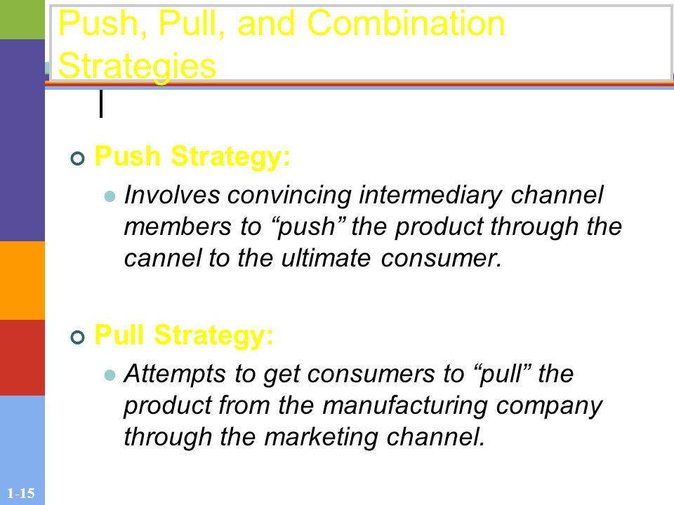 1-15 Push, Pull, and Combination Strategies Push Strategy: Involves convincing intermediary channel members to push the product through the cannel to the ultimate consumer.
